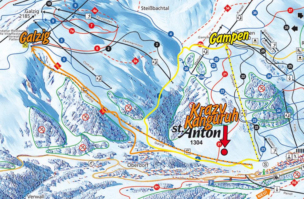 Lageplan |Krazy Kanguruh Apres Ski Bar St. Anton am Arlberg